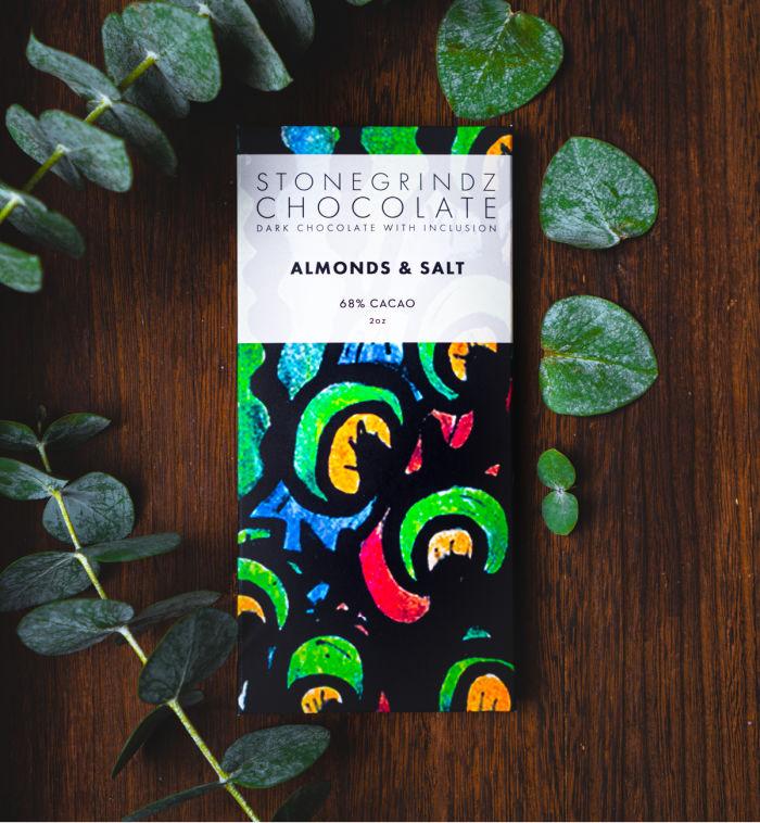 StoneGrindz Chocolate Almonds and Salt Bar