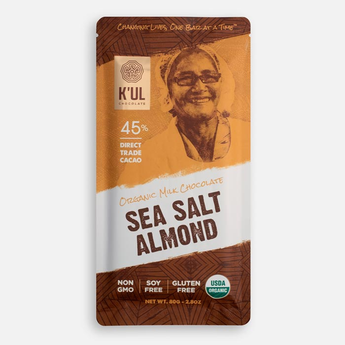 Kul Chocolate Sea Salt Almond Chocolate Bar